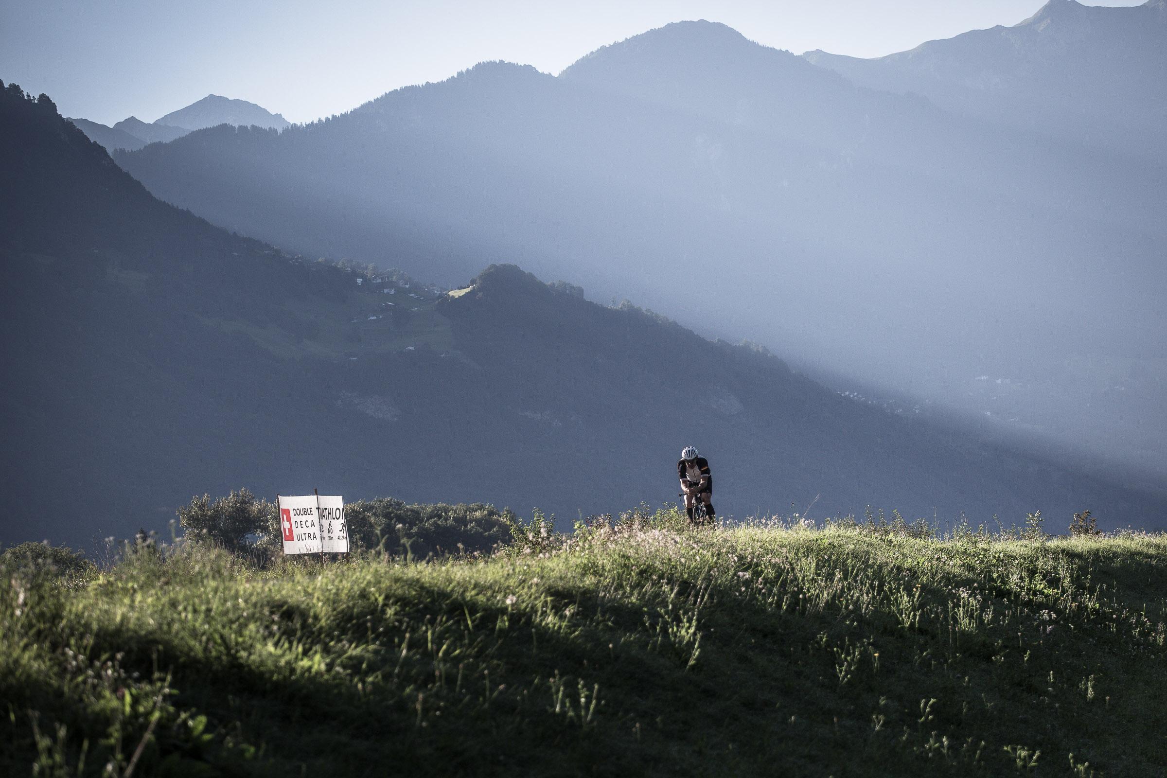 Stefan Chares beim Deca-Ultratriathlon in Buochs, Schweiz